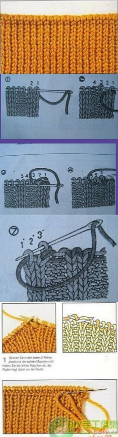 knitting - how to end a piece Bind Off Knitting, Knitting Stiches, Knitting Designs, Knitting Projects, Knitting Patterns, How To Purl Knit, Knit Crochet, Stitch, Knit Stitches