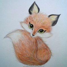 37 super Ideas for art dessin renard Cute Animal Drawings, Pencil Art Drawings, Art Drawings Sketches, Easy Drawings, Cute Fox Drawing, Adorable Drawings, Fox Art, Cute Art, Painting & Drawing