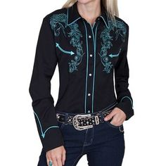 Scully Women's Floral Embroidered Long Sleeve Western Shirt | Boot Barn