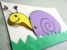 How to make a construction paper snail card with movable head - YouTube