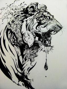 gorgeous Lion tattoo (via TattooIdeasCentral.com)