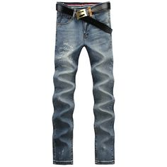 Casual Letter Printed Middle-rise Straight Legs Zip Fly Denim Pants For Men #men, #hats, #watches, #belts, #fashion, #style