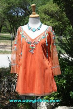 VINTAGE COLLECTION SPRING 2014 SHEER SLEEVE CORAL EMBROIDERED TUNIC from Cowgirl Kim