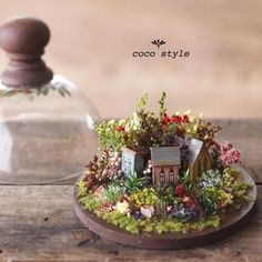 Miniature Houses and Original Garden Designs, Floral Art by Coco Style Miniature Crafts, Miniature Fairy Gardens, Miniature Houses, Miniature Dolls, Zen Gardens, Fall Flower Arrangements, Clay Houses, Mini Things, Miniture Things