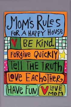 Mom's Rules For A Happy House Art Canvas by julieabbottart on Etsy, $65.00