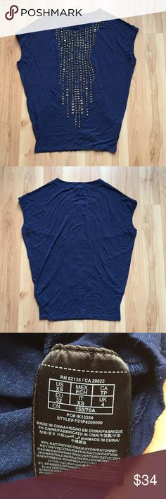 Guess Beaded Top Size XS. Navy blue color with rainfall beading down the front. No beads are missing. Draped sleeve design. Chest 21.5in. Length 25in. Guess by Marciano Tops Blouses