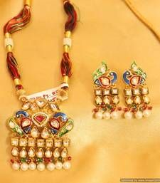 Buy Peacock Traditional Kundan Meenakari Pendant Set Pendant online