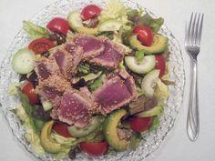 Seared Ahi Salad. #food #homemade #salad #fish #ahi #avocado #tomatoes #cucumbers #lettuce #yum #yummy #foodgasm #fresh