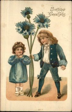 Victorian Children Giant Blue Flowers c1910 Embossed Birthday Postcard