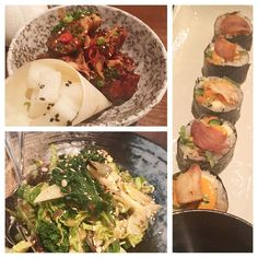 KOREAN FUSION food @jinjuusoho Mayfair - been waiting to come here for ages as a huge fan of @judyjoochef since the old @ironchefamericacuisine days. Loved the Korean fried chicken but the best dish was the Korean chopped green salad! Such a fantastic mix of textures and flavours with a tangy dressing - I could eat that every day and will be recreating very soon! The pickled daikon served with the chicken was juicy crisp and tart. Stunning crockery too! #londonfoodie #eeeeeats…