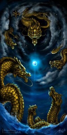 The Six Dragons by NZwolf on deviantART One of the things I like so much about this piece is that the upper dragon looks a little like it has some of the features found in a Tiger crossed with a Dragon. Magical Creatures, Fantasy Creatures, Fantasy Dragon, Fantasy Art, Rukia Bleach, Beautiful Dragon, Cool Dragons, Dragon Artwork, Dragon Pictures