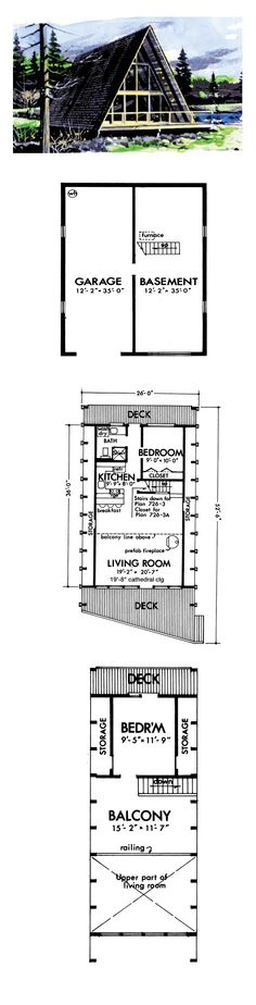 House Plan 57547 - A-Frame, Contemporary Style House Plan with 970 Sq Ft, 2 Bed, 1 Bath, 1 Car Garage A Frame House Plans, Best House Plans, Cottage Plan, Lake Cottage, Mountain Living, Mountain Homes, Little Houses, Tiny Houses, Contemporary Style Homes