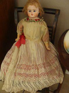 VINTAGE VICTORIAN PORCELAIN LARGE DOLL 33 INCHES LONG!  #vintage #antique #antiquedoll #porcelaindoll