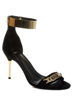 Jeffrey Campbell Shoe Malice Suede Heels in Black and Gold: Karmaloop