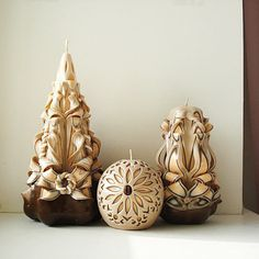 Carved candle set  carved candles 3  peach beige brown
