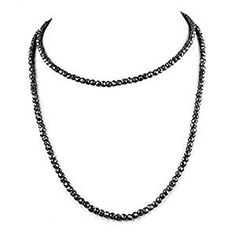 "skyjewels Beautiful 5.00 mm Certified Black Diamond Beads Necklace. 24"".150 cts 18K Gold Clasp. Black Diamond Necklace, Diamond Jewelry, Natural Diamonds, Colored Diamonds, 18k Gold, Beaded Necklace, Gemstones, Beads, Beautiful"