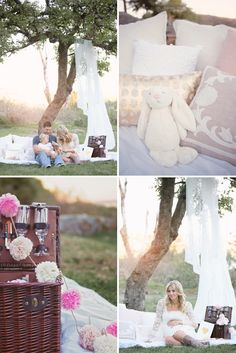 For this lovely family maternity shoot by Jamie Lauren Photography, mama Mariana took on the role of styling, using decor in a soft palette to set up a dreamy picnic setting.