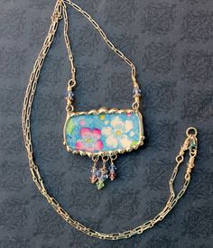 Broken China Jewelry, Necklace, Pink and Blue Floral China, Sterling Silver