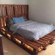 50+ Adorable Pallet Bed Ideas You Will Love - Crafome Pallet Bed Frames, Diy Pallet Bed, Wooden Pallet Furniture, Diy Bed Frame, Bed On Crates, Bed Made Out Of Pallets, Pallet Bed With Lights, Palette Bed, Western Bedroom Decor