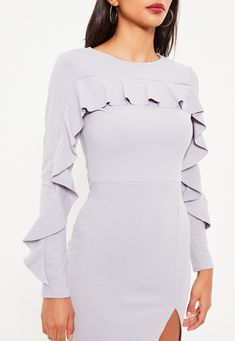 Grey Crepe Frill Long Sleeve Midi Dress - Missguided