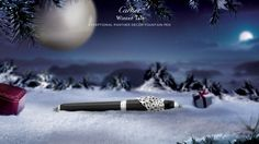 """""""EXCEPTIONAL PANTHER DECOR FOUNTAIN PEN - by Cartier. Sterling silver, black lacquer  Limited edition of 188 individually numbered pens.  Exceptional Panthère fountain pen, sterling silver with palladium finish, black lacquer, tsavorite garnet eyes, onyx cabochon, rhodiumized 18K solid gold nib. """""""