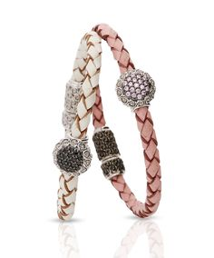The Evangeline Bracelet – made from the highest quality leather and white gold, studded with black diamonds and pink sapphires by Jenna Clifford Jewelry Bracelets, Jewelry Watches, Jewellery, Jenna Clifford, Jewelry Trends, Jewelry Accessories, Pink Sapphire, Bracelet Making, White Gold