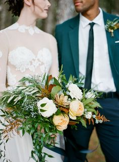 Woodsy, Glam Holiday Wedding Inspiration - The Ganeys Gold Wedding Bouquets, Gold Bouquet, Floral Wedding, Wedding Colors, Wedding Flowers, Wedding Greenery, Holiday Wedding Inspiration, Wedding Ideas, Wedding Photos