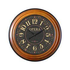 Ashton Sutton Opera Wall Clock in Walnut