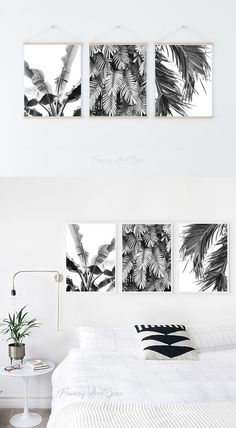 Big Photo, Tree Print, Tropical Leaves, Printable Wall Art, Wall Art Decor, Monochrome, Art Pieces, White Colors, Black And White