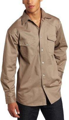 Key Apparel Men's Long Sleeve Western Snap Welders Shirt - Shop for women's Shirt - Khaki Shirt
