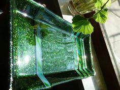 Fused glass platter - Sparkling green