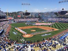 Los Angeles Dodgers Opening Day at Dodger Stadium on April 2015 Let's Go Dodgers, Dodgers Baseball, Baseball Field, Jimmy Rollins, Major League Baseball Teams, Dodger Stadium, San Diego Padres, Love My Boys, Los Angeles Dodgers