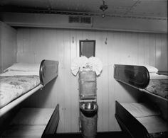3rd Class cabin with four-bunk sleeping accommodations.