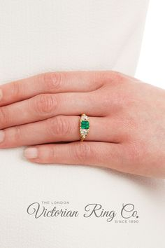 This Victorian style carved half hoop ring is set with a fine quality emerald and two diamonds. A further six diamond points complete this expertly carved ring. This three stone ring design is true to the original rings of the late 1800s.#LondonVictorianRing #ThreeStoneRing #EmeraldRing #HalfHoopRing #VictorianRingDesign #EmeraldandDiamond Engagement Rings On Finger, Stone Ring Design, Country Rings, Victorian Engagement Rings, Jewelry Insurance, Three Stone Rings, Rings Cool, Conflict Free Diamonds, Victorian Fashion