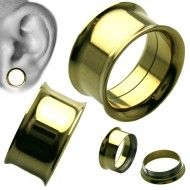 Wholesale Body Jewelry Double Flare Titanium Plug Body Jewelry (Sold By Piece ) PL1-G Product Code: PL1-G