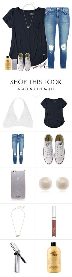 """You don't have a clue what you do to me//"" by southernstruttin ❤ liked on Polyvore featuring Youmita, Hollister Co., J Brand, Converse, Kate Spade, Links of London, Kendra Scott, ColourPop, Bobbi Brown Cosmetics and philosophy"