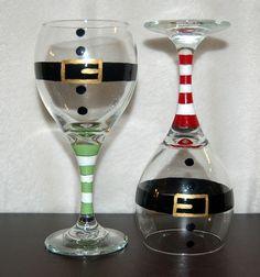 Christmas Wine Glasses Set Of FOUR red santa glasses Christmas Wine Glasses, Diy Wine Glasses, Hand Painted Wine Glasses, Wine Glass Crafts, Wine Craft, Wine Bottle Crafts, Wine Bottles, Bottle Painting, Bottle Art