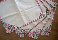 HAND-EMBROIDERED 1930s Vintage Table Linens  Art Deco Summer Vintage Table Linens, Cerise Pink, Embroidery Transfers, Art Deco Era, Vintage Textiles, Summer Flowers, Hope Chest, Table Centerpieces, Linen Fabric