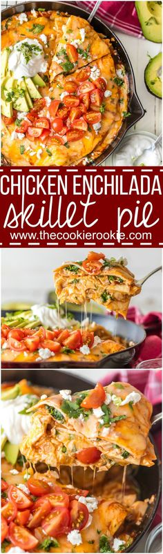 EASY DINNER ALERT! Chicken Enchilada Skillet Pie is made in my 25 minutes and will satisfy the entire family. Flour tortillas layered with spicy chicken, enchil