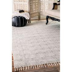 nuLOOM Handmade Flatweave Sparkling Cotton Fringe Ivory Rug (7'6 x 9'6) - Free Shipping Today - Overstock.com - 19050107 - Mobile
