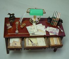 Dollhouse Miniature Filled Jiayi Table and by uniqueminiatures
