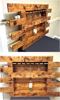 These wood pallet projects borrowed from certain other platforms would be of great use. Beginning from this pallet wooden made wine trey or shelf, I would urge you guys to count on these multiple pallet wood creations. They would make the best articles of your house to cater your needs of daily use.