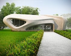 This is a pictures of modern architecture inscribed in the natural landscape. Parametric Architecture, Innovative Architecture, Roof Architecture, Organic Architecture, Futuristic Architecture, Residential Architecture, Contemporary Architecture, Architecture Diagrams, Parametric Design