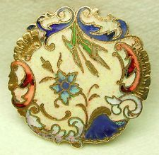 Antique French Enamel Button Colorful Flower And Cattail Design
