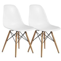 Plastic Dining Side Chair Wood Leg Eiffel Base (Set of 2) (White) Hampton Modern http://www.amazon.com/dp/B00I8C6VNW/ref=cm_sw_r_pi_dp_YseTvb0P4RZ8E