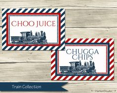 Train Table Tents, choo juice and chugga chips