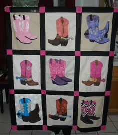 "Quilt made by 40 Something Cowgirls for charity. Western Boots ""Mickey's Boots"""