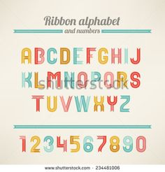 Ribbon Latin alphabet and numbers. A, B, C, D, E, F, G, H, I, J, K, L, M, N, O, P, Q, R, S, T, U, V, W, X, Y, Z. Perfect for holiday greetings, Christmas, Valentine, birthday and wedding cards.