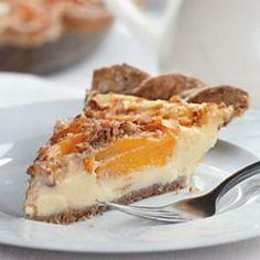 Peach Custard Pie made with nonfat Greek yogurt
