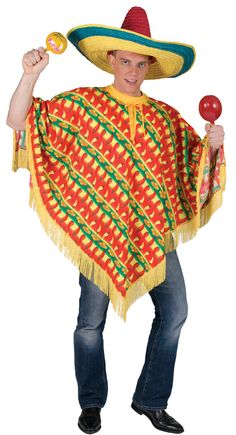 5f4a68cf768 Fiesta Mexican Poncho Adult Costume - Mr. Costumes